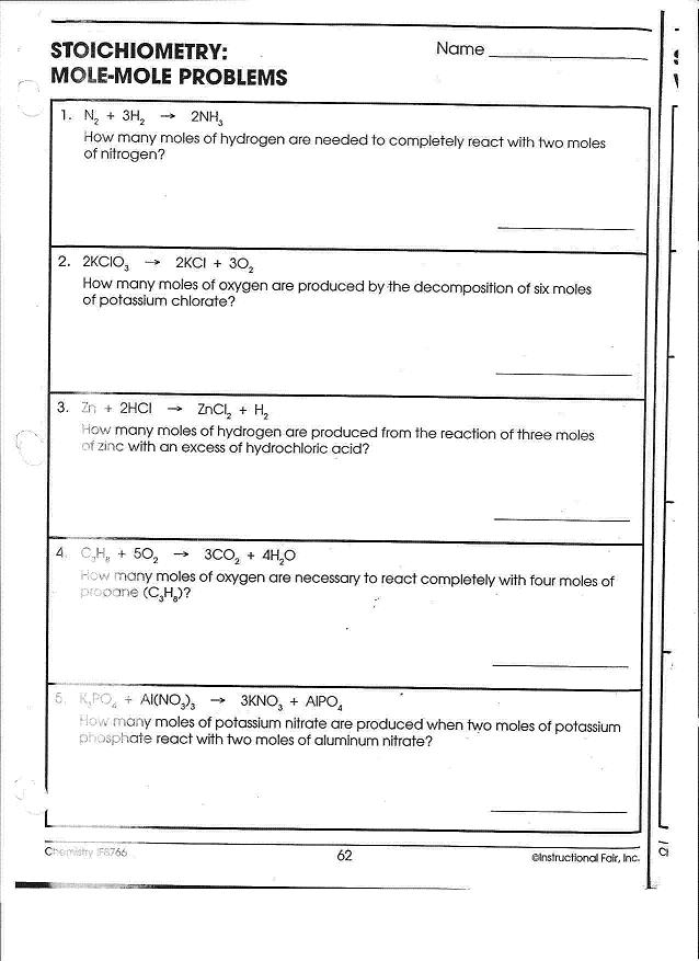 A Chem Chapter 10 Worksheet Mole Mole Volume Volume Mass Mass Calculations