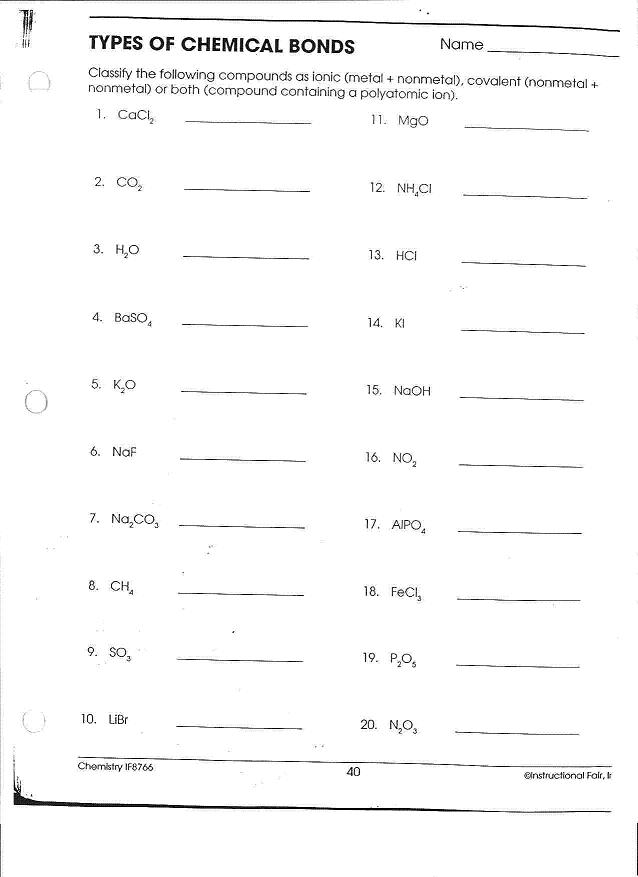 Types Of Chemical Bonds Worksheet Key - Worksheets